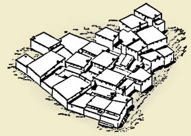 sketch of terraced houses at Çatalhöyük