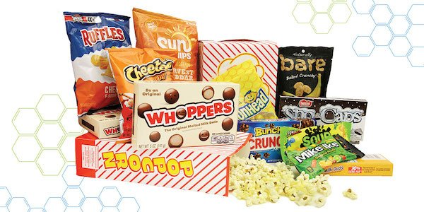 A collection of the various snacks that can soon be purchased at the Omnitheater concession stand.