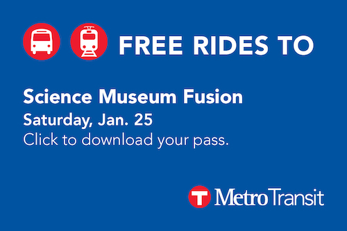 Click here to receive your free ride pass to this event, provided by Metro Transit.