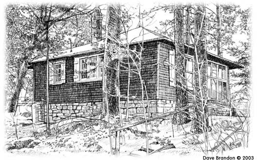 Drawing of Pine Needles cabin by Dave Brandon. Dave Brandon © 2003