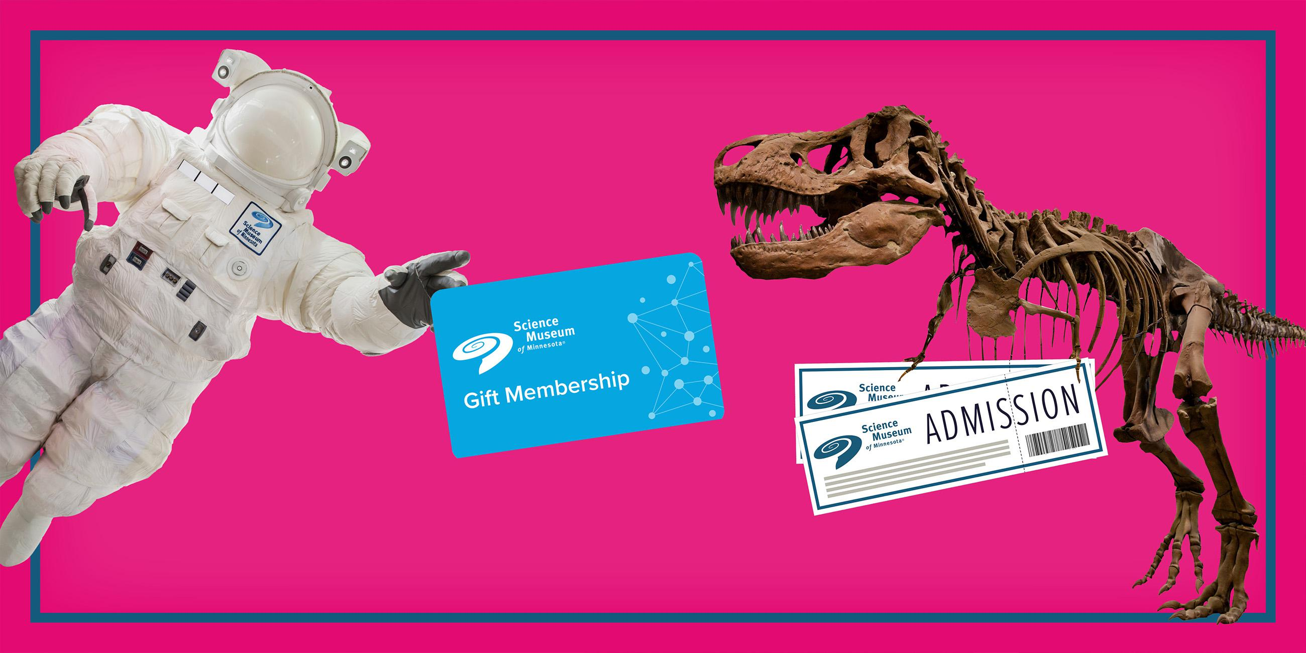 Giant astronaut holding a gift Membership gift card with a T-rex skeleton holding two museum tickets.
