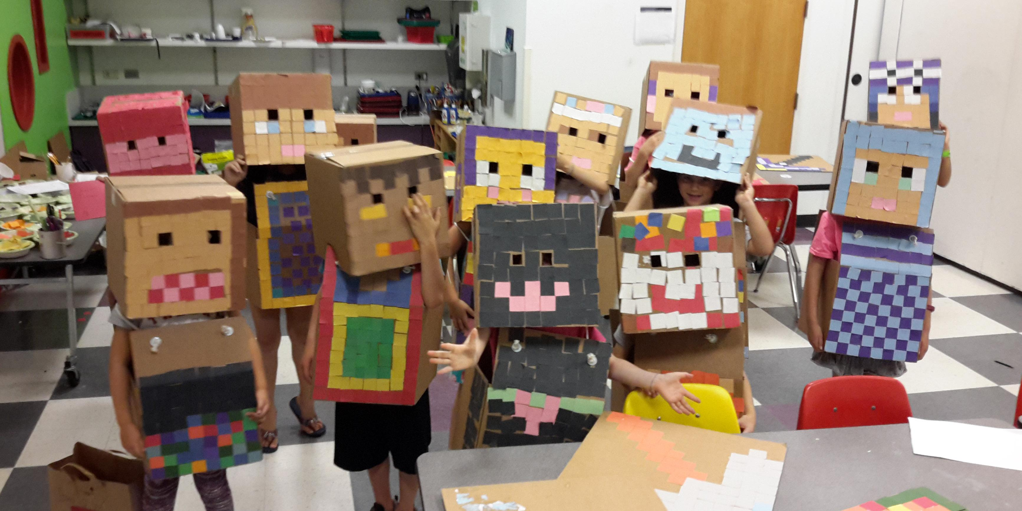 Kids dressed up as Minecraft characters for summer camps.