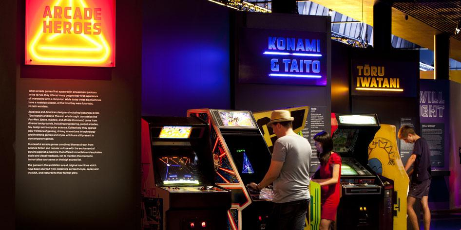 Classic arcade games in the Game Changers exhibit.