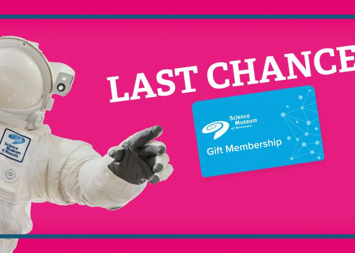 "Giant Astronaut catching a floating gift membership gift card, featuring the message ""Last Chance"""