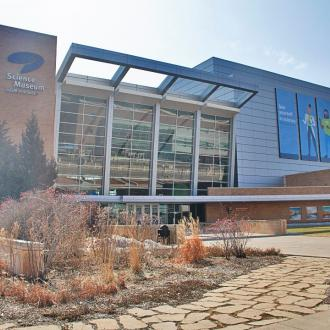 The exterior of the Science Museum of Minnesota in spring