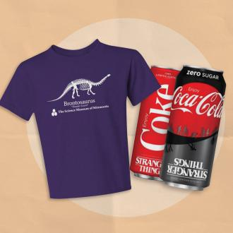 """Saint Paul Saints Promo Image with Iconic """"Thunder Lizard"""" skeleton shirt, and Stranger Things-branded Coke cans."""