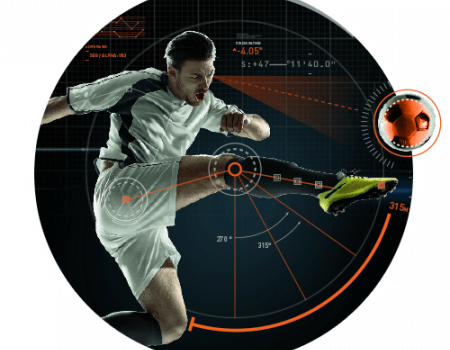Sportsology graphic of a man kicking a soccer ball.