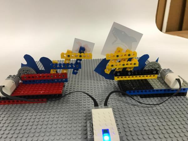 the Lego contraption from behind