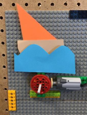 Boat bobbing up and down controlled by Lego gears and motor