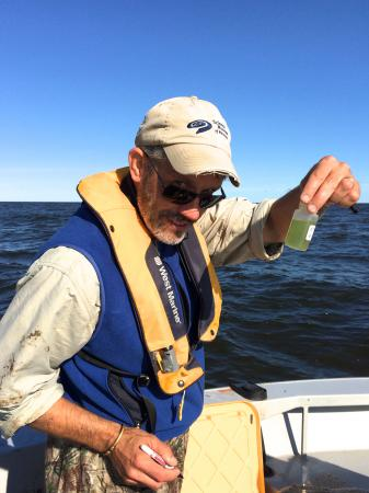 Mark Edlund examines a phytoplankton sample collected from Lake of the Woods.