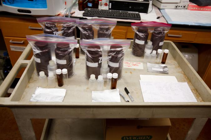 Algae sampling kits readied in the lab (Summer 2016)