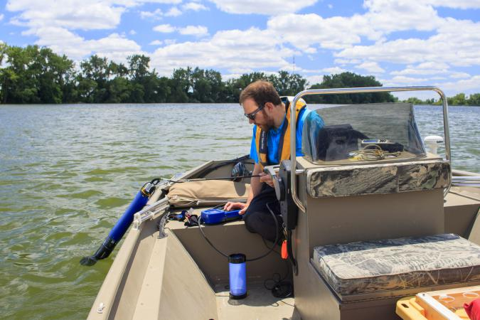 Preparing to deploy water quality probe (June2016)
