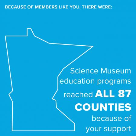 Because of members like you, there were: Science Museum education programs reached in all 87 counties because of your support.